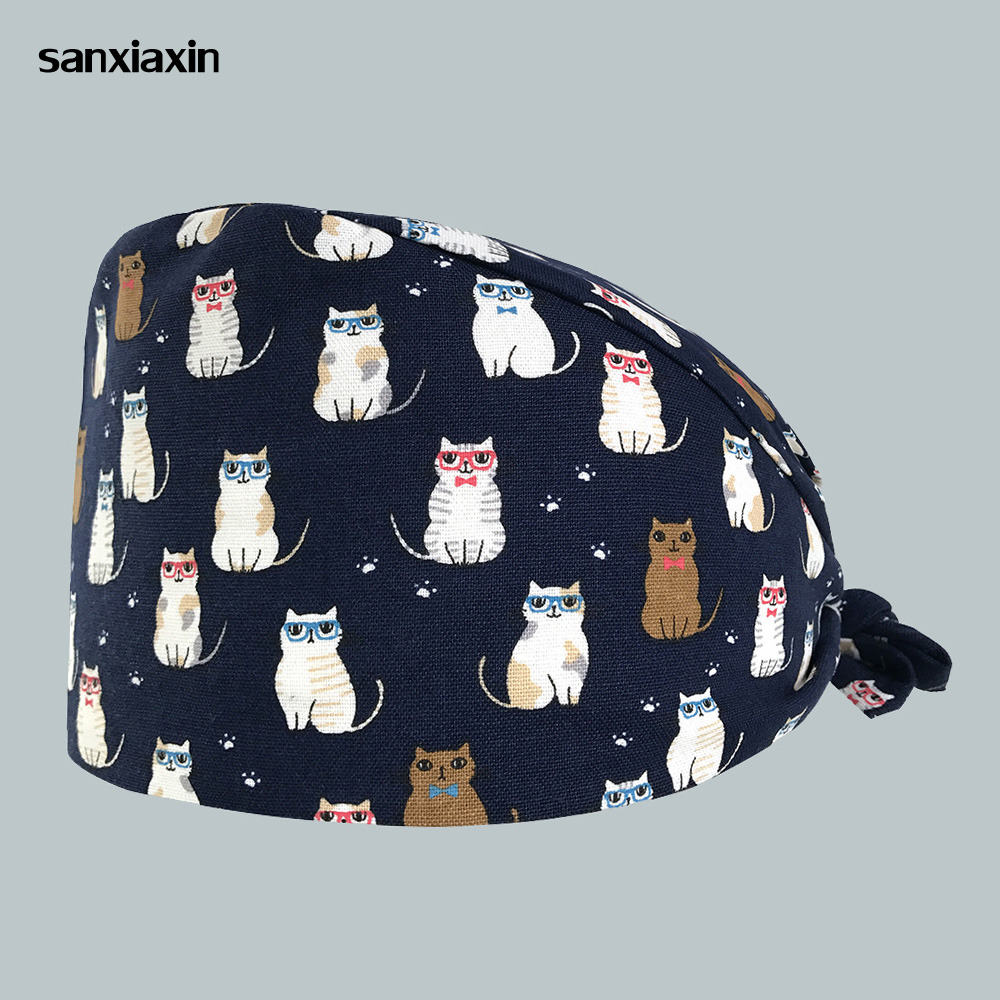 2019 Surgical Caps Hospital Doctor Nurse Medical Hats Beauty Salon Surgical Caps Cat Printing Nursing Scrubs Hat Clinic Pharmacy