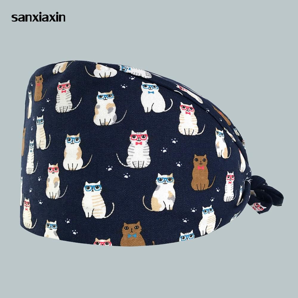 2019 Surgical Caps Hospital Doctor Nurse Medical Hats Beauty Salon Surgical Caps Cat Printing Nursing Scrubs Hat Clinic Pharmacy