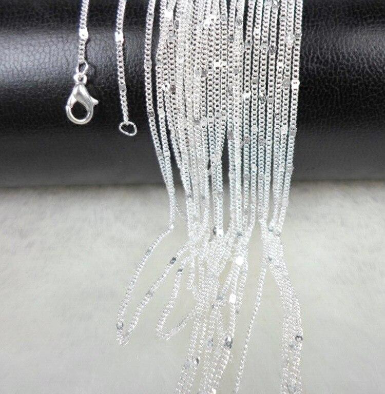 Акция, Новое поступление, оптовая продажа, 1-10 шт./лот, серебряное ожерелье, цепочка, 18 дюймов, тонкие крестовые цепочки, ювелирное ожерелье дл...