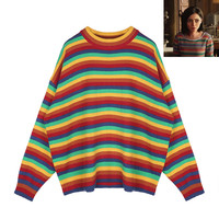 Gunnm Alita Battle War Angel Cosplay Rainbow Sweater O Neck Knitted Colorful Pullover Sweater