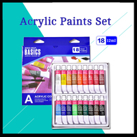 18 colors 12ml Acrylic Paints Set Paints Wall Textile Spray Paint Fabric Paint Art Supplies with gift Brush