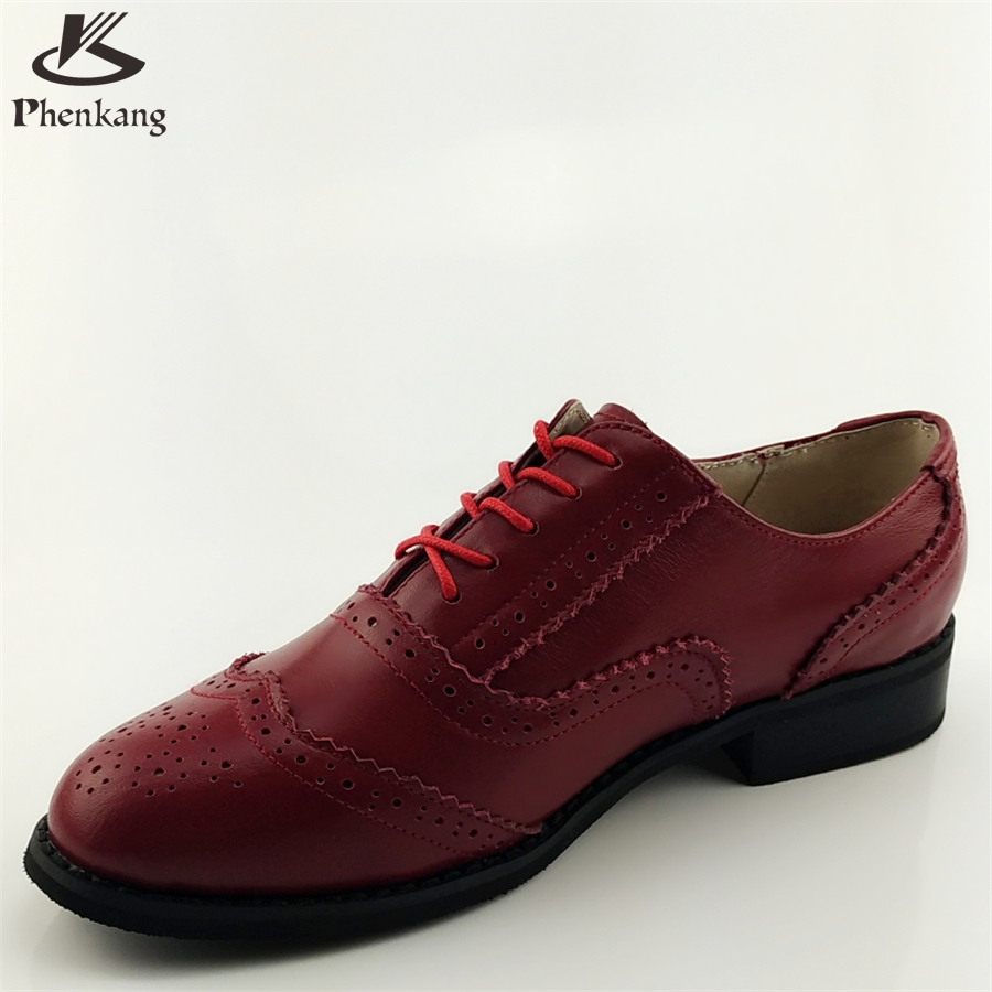 ФОТО Cow leather big woman US size 11 designer vintage shoes round toe handmade red 2017 spring oxford shoes for women with fur