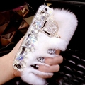 Luxo grande strass diamante pele de coelho real capa dura caso para iphone11 pro max x xs max xr 5S 6 s plus 7 8 mais bling caso