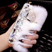 Lüks büyük yapay elmas elmas Gerçek tavşan kürk sert kapak iphone için kılıf X XS MAX XR 4 S 5 S 6 6 S ARTı 7 8 Artı bling Kılıf