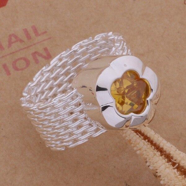 Anillo de Plata de Ley 925 anillo de joyería de moda para mujeres y hombres RED/flor amarilla/ecdamtka frzaojga AR302