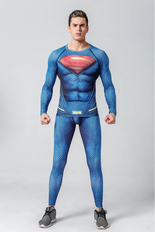 Superhero Cosplay Costume 3D printed Compression T Shirts Leggings Pants Suit