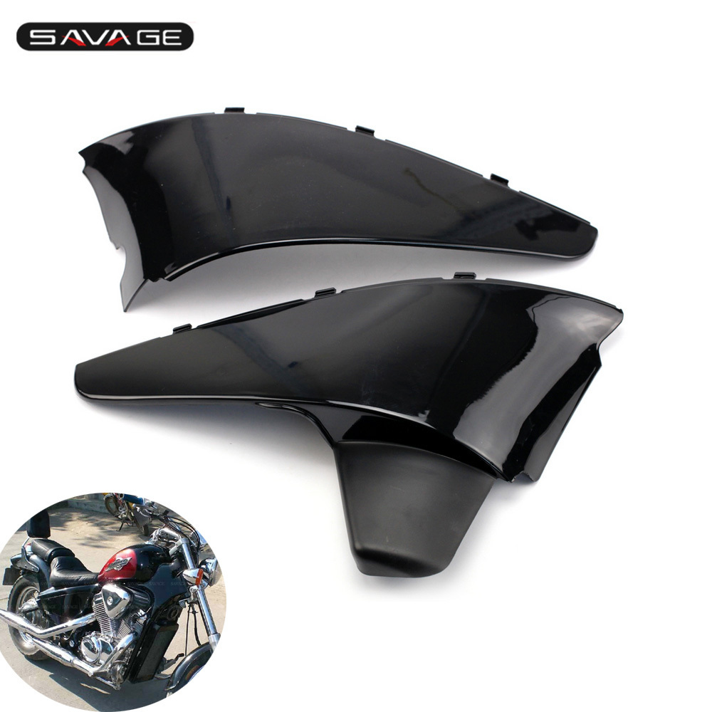 Black Plastic Side Cover Set For HONDA VT 600 C/D Shadow VLX 1993-1996, STEED 400 1990-1996 Motorcycle Accessories Left & Right for 88 98 honda shadow vt600 vlx 600 steed 400 motorcycle abs plastic frame neck cover cowl wire covers side frame guard black