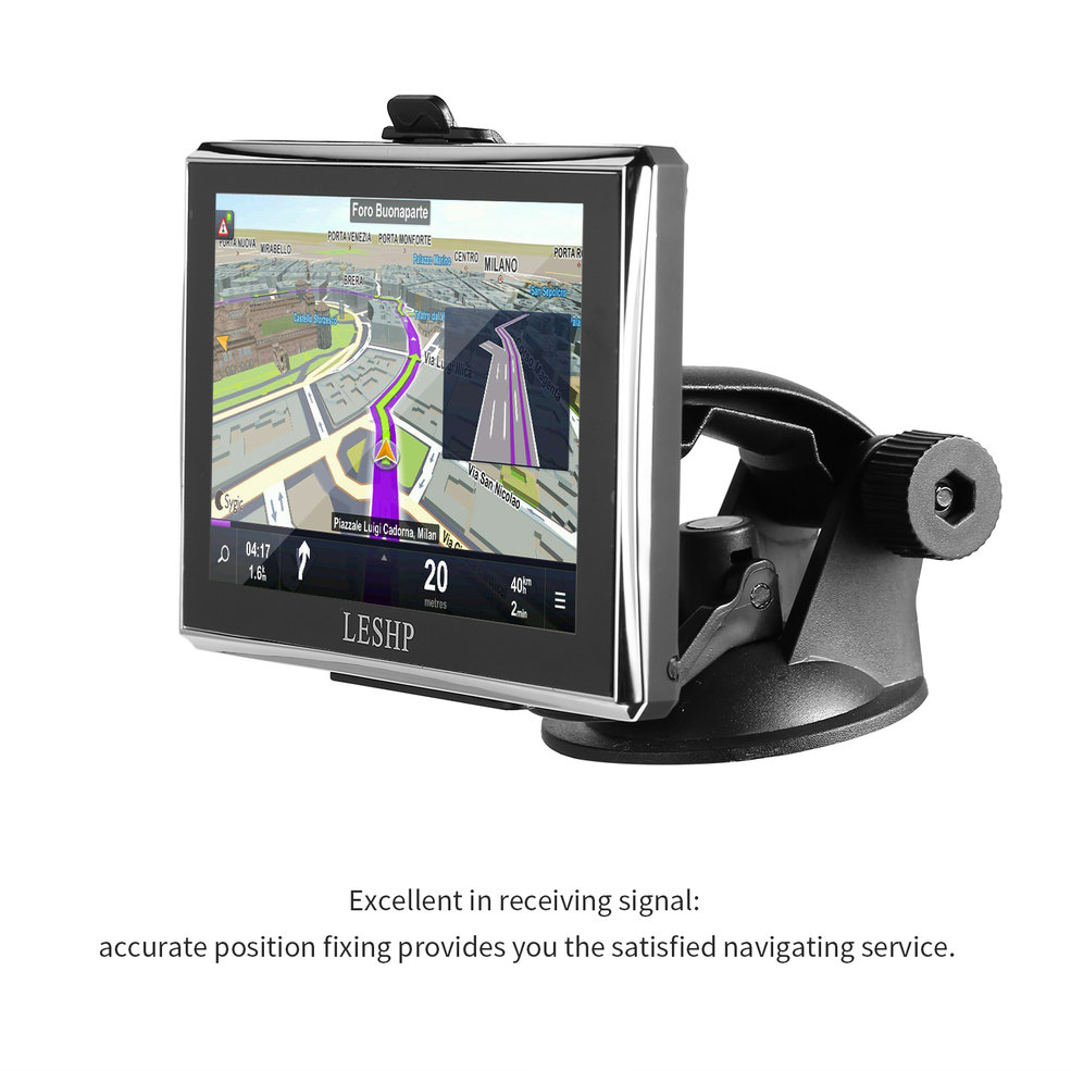 LESHP Black Durable HD Car GPS Global Positioning System Touch Screen Navigation Map Free Upgrade Truck Navigators Automobile