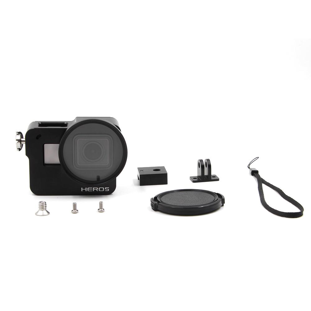 Prix pour TELESIN Aluminium Squelette Robuste Cage avec la Couverture Arrière + 52mm UV Lens + Lens Cap pour GoPro Hero 5 Noir Cadre logement Étui de protection