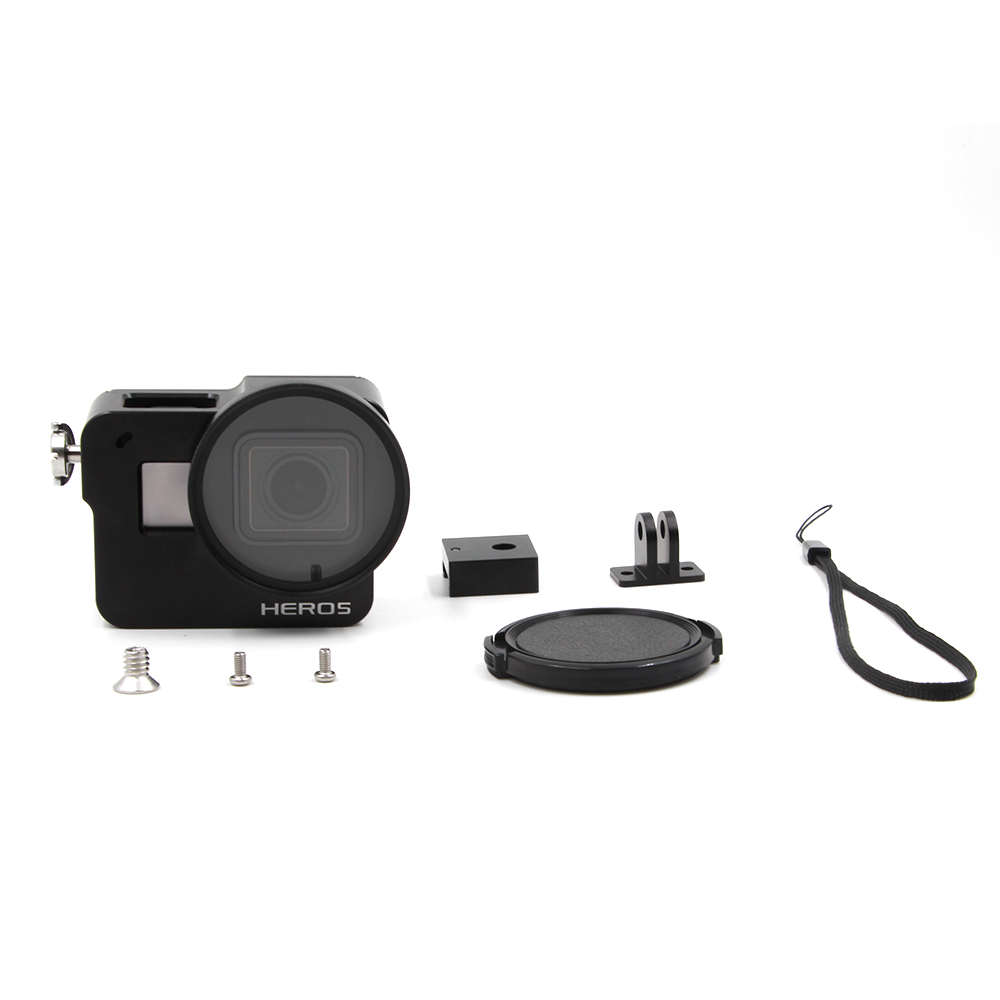 TELESIN Aluminum Skeleton Rugged Cage with Back Cover 52mm UV Lens Lens Cap for GoPro Hero