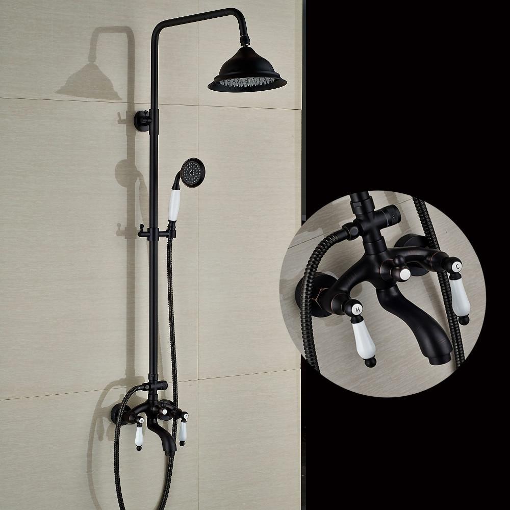 Luxury Oil Rubbed Bronze Rain Shower Head Tub Faucet W/ Hand Shower Mixer Tap