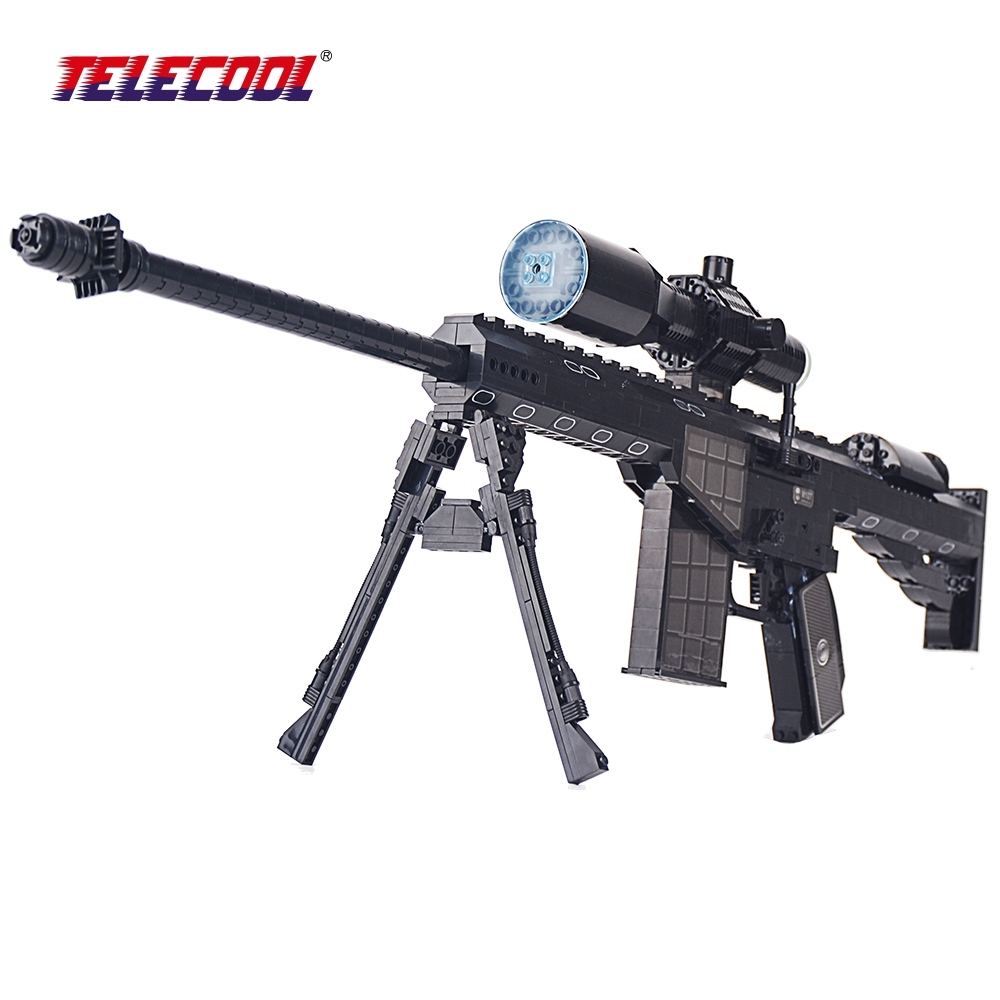 TELECOOL SWAT Army Marines M107 Sniper Assault Rifle Gun Weapon 1:1 Model Building Blocks Sets 527Pcs For Kids Classic Toy