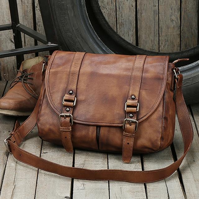 New Fashion Genuine Leather Shoulder Bag men Leather Messenger Bag Men  Crossbody Bag Male Casual Sling Bag Leisure Vintage Brown