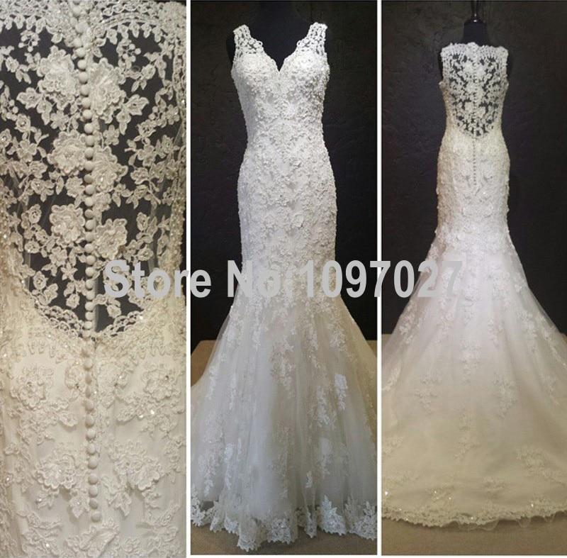French Lace Mermaid Wedding Dress: Mermaid V Neck French Lace Abito Da Sposa 2016 Sweep Train