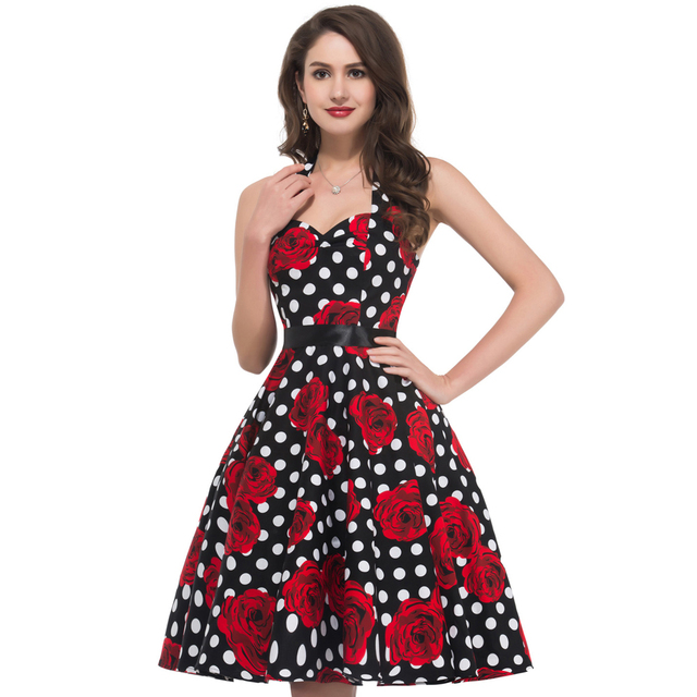 2017 New style Summer 60s robe Vintage Dress Women pin up ...