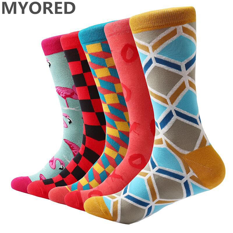 MYORED 5 pair/lot cotton novelty socks funny socks mens casual dress socks wedding gifts party for fun