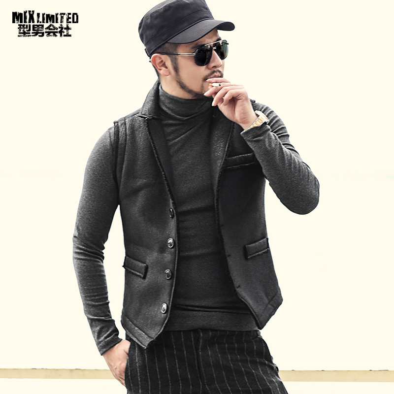 Thick Warm Retro Men's Faux Fur Winter Casual Vest Metrosexual Men Solid New Brand European Style Single Breasted Waistcoat M236