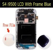 Dla samsung galaxy s4 i9500 i9505 i337 wyświetlacz lcd ekran dotykowy digitizer zgromadzenia z ramki biały lub niebieski kolor czarny