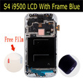 Para samsung galaxy s4 i9500 i9505 i337 display lcd com frame touch screen digitador assembléia azul ou branco cor preta