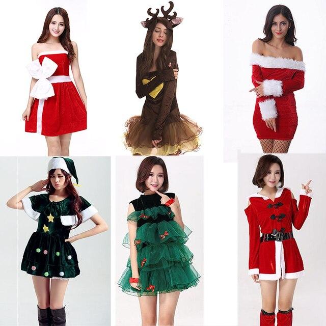 b7eccaf81 عيد الميلاد اللباس الشتاء 2018 المرأة شجرة الغزلان ثلج مثير لوليتا الأحمر  الأخضر حزب تأثيري عيد