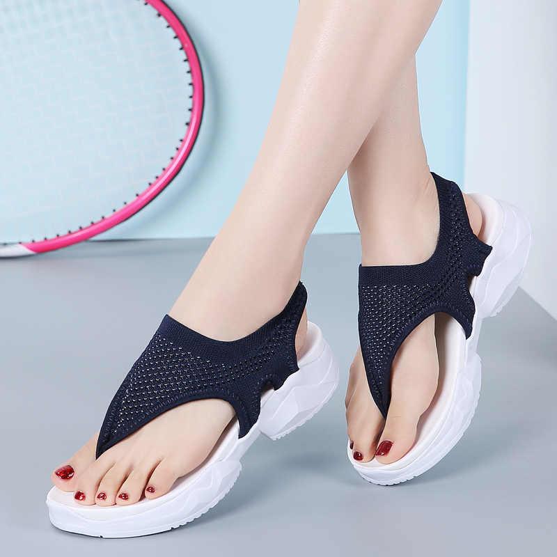 Женская обувь летние сандалии повседневные пляжные шлепанцы Женская дышащая обувь для улицы Модные женские легкие кроссовки