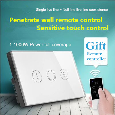 US Standard 1000W High power Touch Remote Control Delay Auto off Light Switch, Tempered Glass Wall Switch, With LED Indicator us 1gang hotel tempered glass panel smart house wall light switch remote control switch touch control light switch led indicator