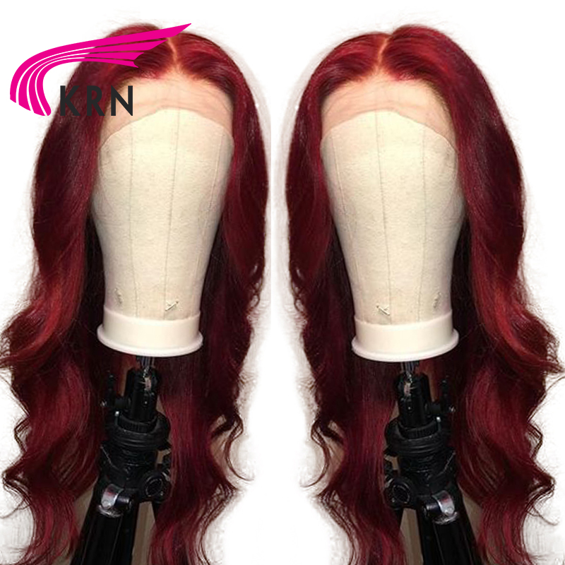 KRN 99J Brazilian Lace Front Human Hair Wig With Baby Hair Body Wave Ombre Pre Plucked