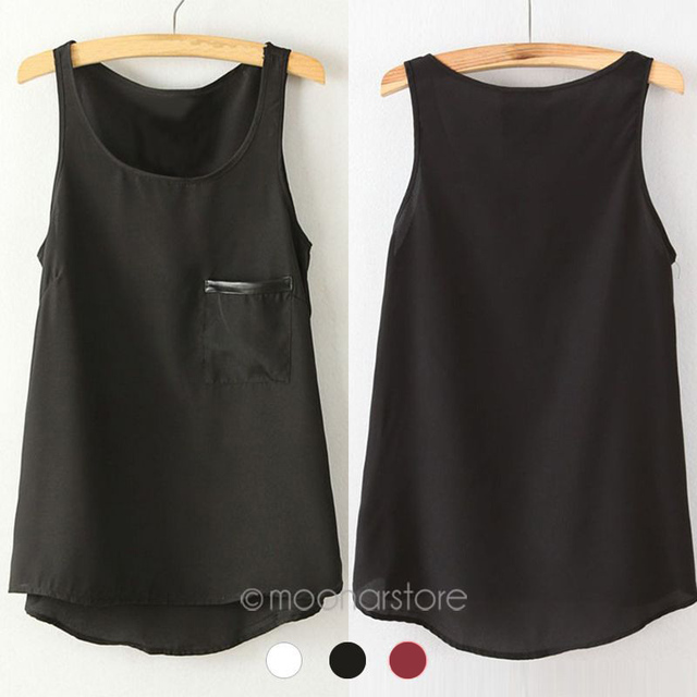fa513ac59589 Fashion 3 Colors New Simple Casual Solid Women Girl Chiffon Sleeveless Vest  Tank Tops Blouse T-Shirt Camisole Shirt XE3112 C9