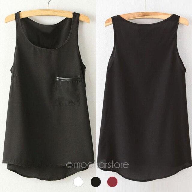 Mode 3 Couleurs Nouveau Simple Casual Solide Femmes Fille En Mousseline de  Soie Sans Manches Gilet 237f737cac2