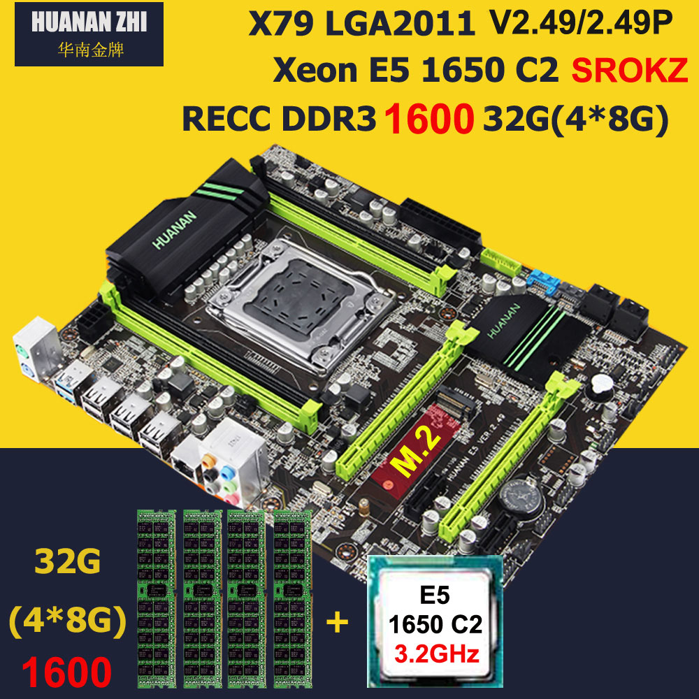Descuento Placa base con M.2 ranura HUANAN ZHI nuevo X79 placa base con CPU Intel Xeon E5 1650 de 3,2 GHz RAM 32G (4*8g) 1600 REG ECC