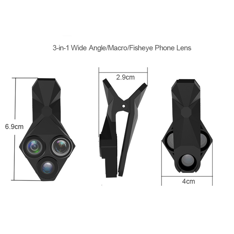 Image 3 - 3 in 1 Phone Lens Professional Integral Turntable External Use Wide Angle + Fisheye + Macro Universal Cool Phone Camera Lens Set-in Monocular/Binoculars from Sports & Entertainment