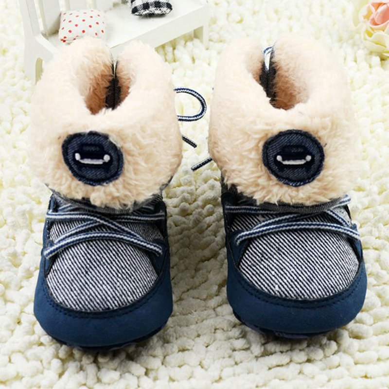 Newborn Baby Boys Prewalker Soft Snow Boots Faux Fur Lace Boots Snow Crib Shoe 0-18M