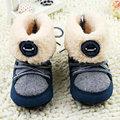 Новорожденный Мальчики Prewalker Мягкие Ботинки Снега Искусственного Меха Кружева Сапоги Снега Детская Кровать В Обуви 0-18 M