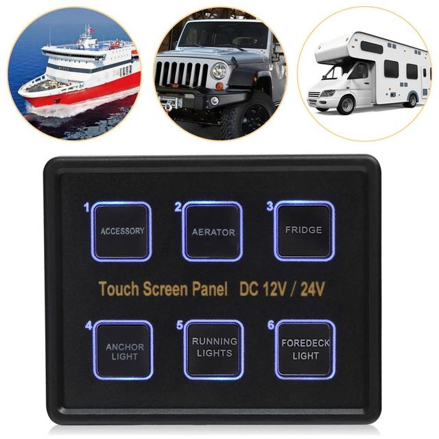 Rupse 12V/24V 6 Gang LED Touch Control Panel Box Switch 960W ...