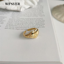 WFSVER women gold color 925 sterling silver fashion ring korea style heart shaped letter opening adjustable fine jewelry