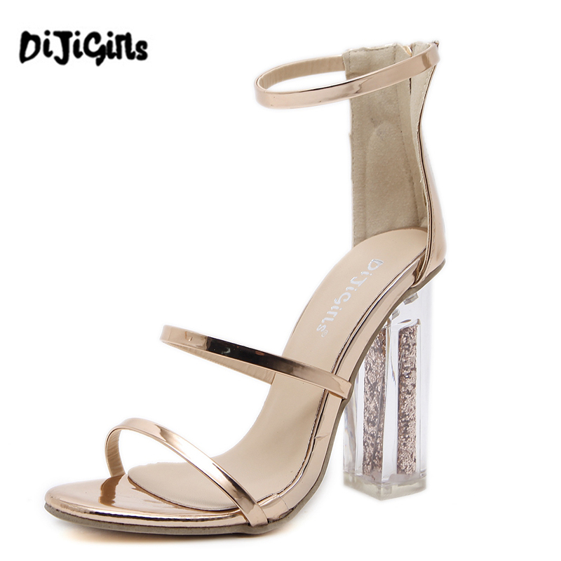 DiJiGirls new style Women Gladiator Roman Sandals open toe mary jane Crystal Thick High Heel Pumps Wedding Party Shoes Woman