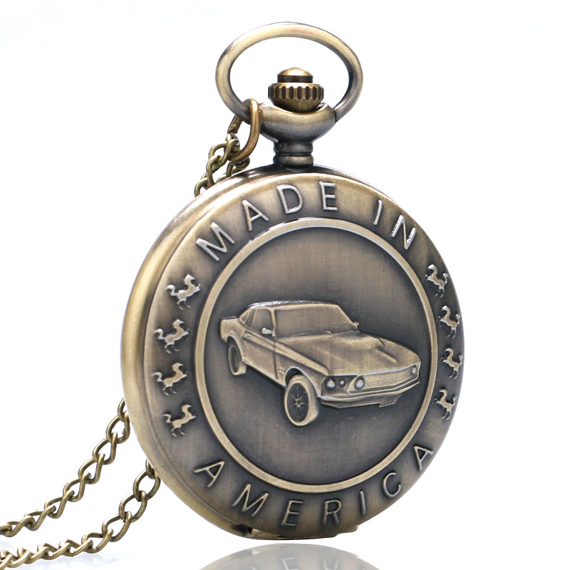 Vintage Pocket Watches Design Made In America Words Bronze Quartz Watch Car Pendant Necklace Fob Clock White Dial Man Woman Gift