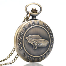 цена на Vintage Pocket Watches Design Made In America Words Bronze Quartz Watch Car Pendant Necklace Fob Clock White Dial Man Woman Gift