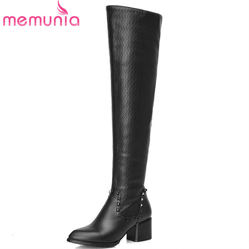ФОТО laege size 34-42 simple over the knee boots for women med heel genuiner leather boots new arrive winter snow shoes