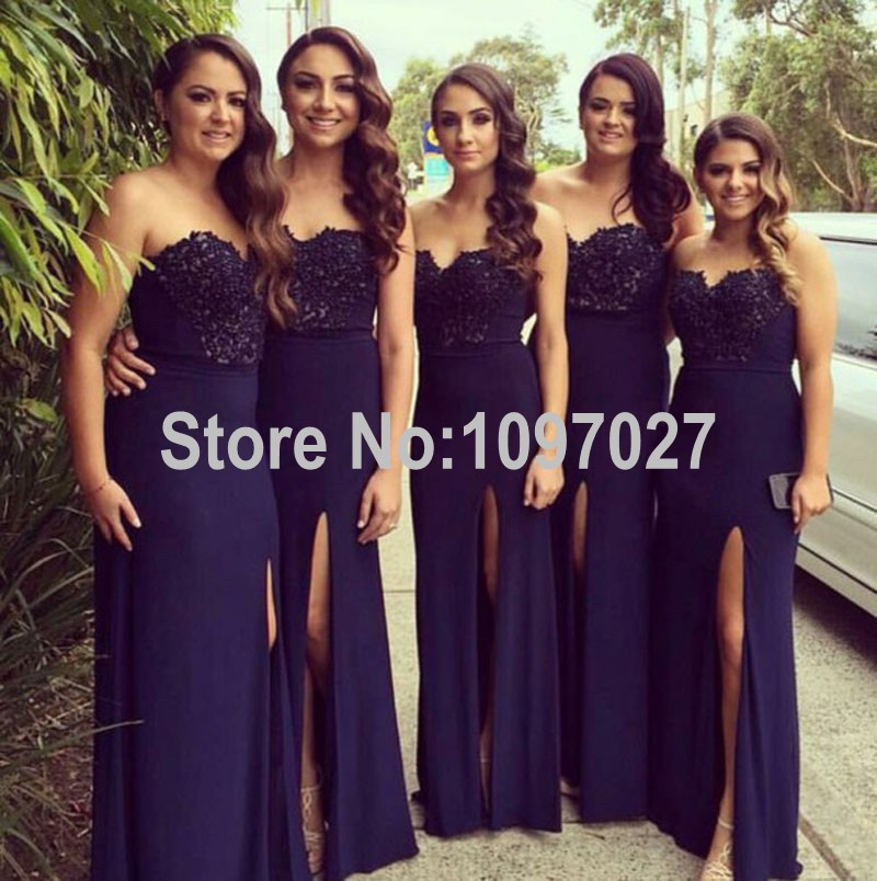 2016 New Sexy Sweetheart Vintage Bridesmaid Dresses High Slit Women's Formal Party Dresses Custom Made MG160
