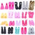 Случайный Выбор 10 Пар Оригинальные Обувь для Барби Куклы Бесплатная Доставка Обувь Типа Смешивания Цвета смешивания Обувь Аксессуары Для Барби Оптовая