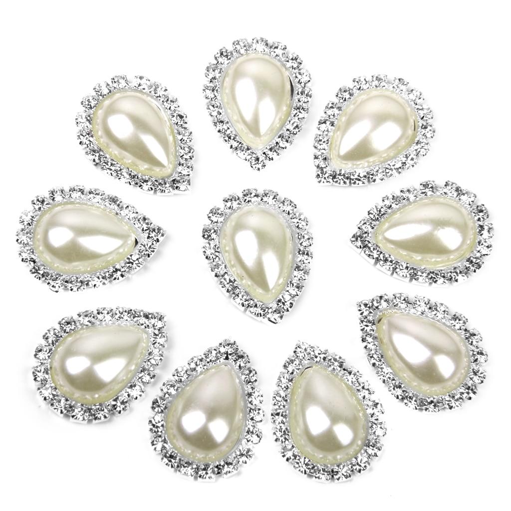 10pcs Teardrop Crystal Beige Faux Pearl Button Flatback 20mm x 25mm
