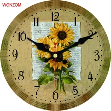 SunFlower Wall Clock Modern Design Relogio De Parede Large Silent For Living Room Wall Decor Saat Home Decoration Watch Wall