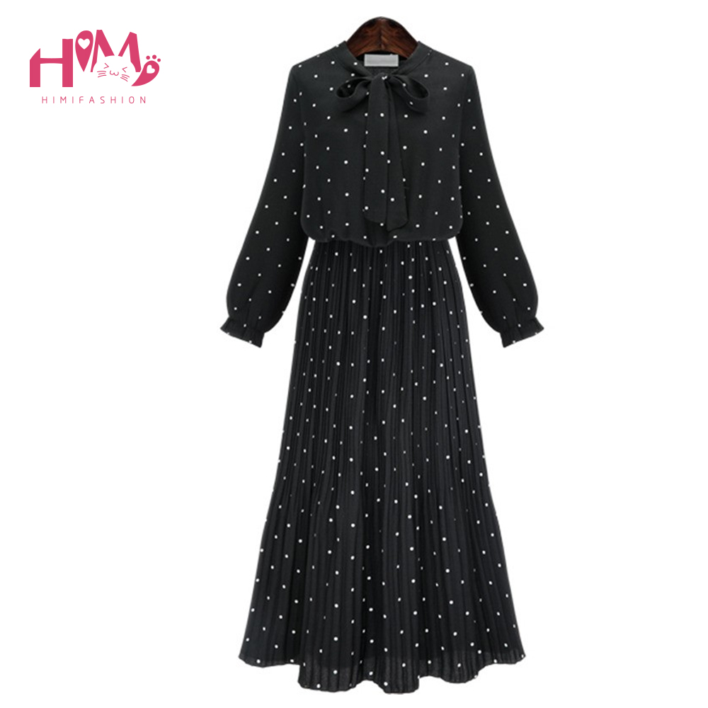 Europe Fashion Bohemian Dresses Black Dots Pattern Women Long Ball Party Dress Lady Plea ...