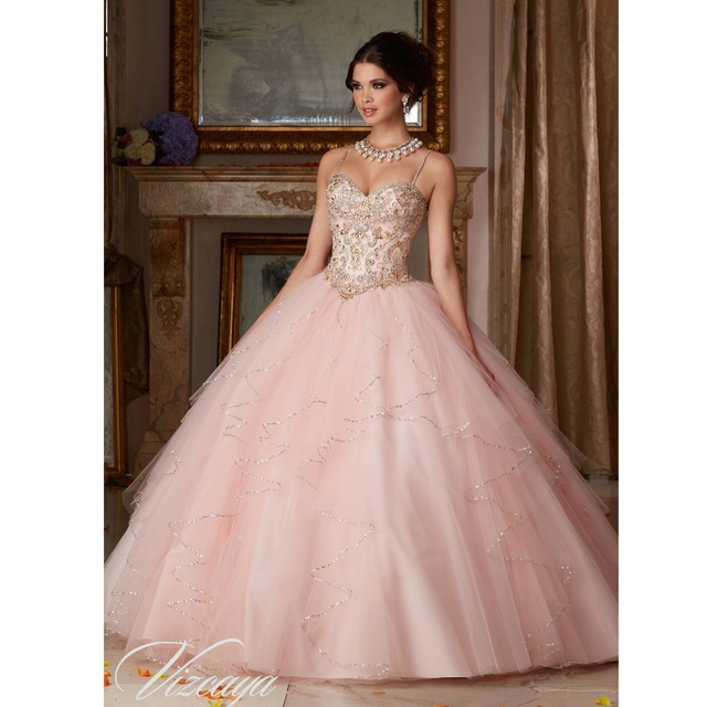 f61b712c1b2 2017 Princess Pink Quinceanera Dresses Spaghetti straps Ball Gown Sweet 16  Prom Dress Beaded cheap quinceanera