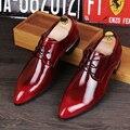Manera de Los Hombres británicos Zapatos de Cuero Genuinos Oxfords de Cuero Masculinos Pisos Casual Zapatos De Hombres De Partido Rojo Zapatos de La Boda Vestido 4 colores