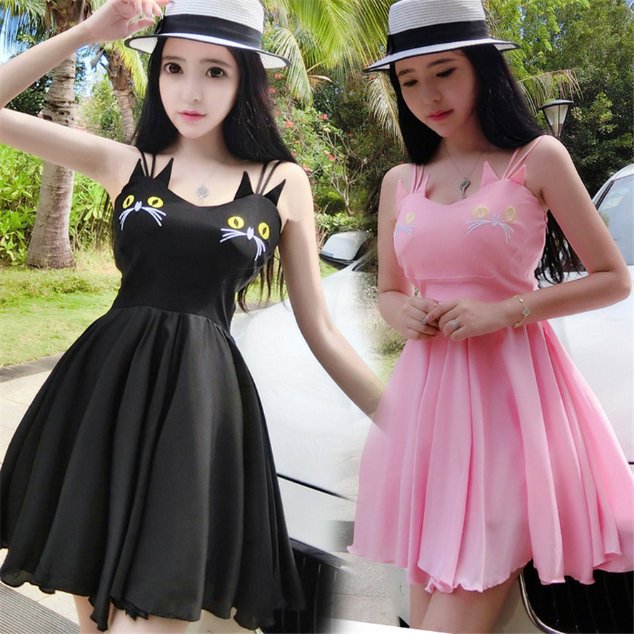 suspender braces dress mini sweet cat lovely cute Chiffon dress sleeveless Dress black pink British style for graduate ladies