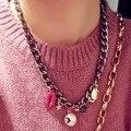 XL74 CC Lábios batom ouro neckless jóias famosa marca novo 2016 sautoir colar collares collier femme mulheres acessórios