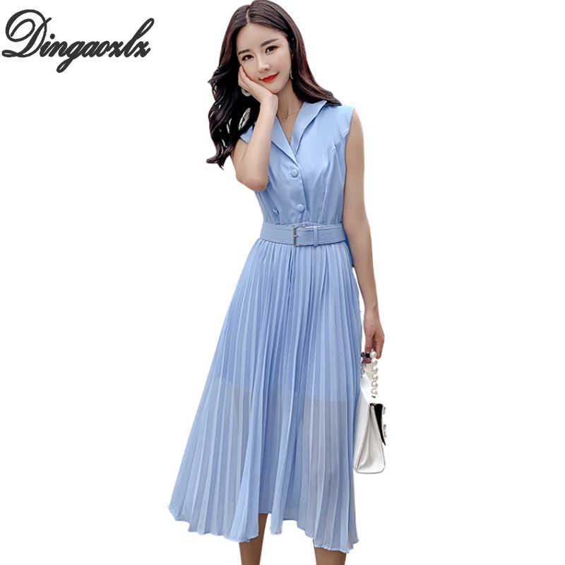 030b613c24263 Dingaozlz Kadın Yaz Elbiseler 2019 Yeni Moda A-line Pileli Şifon elbise  Vestidos Kolsuz OL
