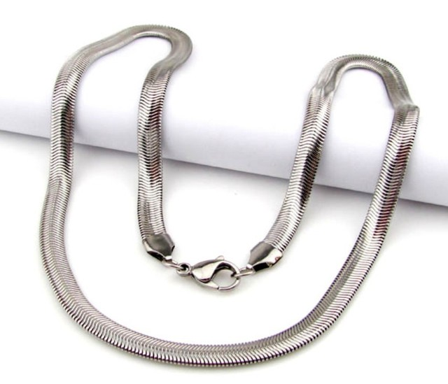 55cm 6mm 16.5g Fashion Stainless Steel Silver Flat Snake Chains Neklace For  Men Boy d63c63225